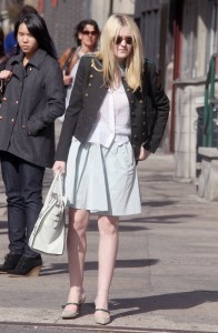 Dakota Fanning - Pale Blue skirt Out & About March 8, 2012